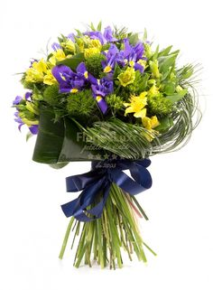 Iris bouquet and peruvian lillies, elegant and fresh, this bouquet is for sure a crowd pleaser. Order today this bouquet and make someone's day a great one! Iris Bouquet, Types Of Flowers, Grapevine Wreath, Crowd, Most Beautiful, Fresh, Weddings, Elegant, How To Make