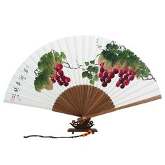 Hand Painted Folding Paper Bamboo Fan with Grape Painting Grape Painting, Chinese Painting, Asian Store, Oriental Flowers, Hanging Paintings, Chinese Fans, Wood Floor Lamp, Fan Decoration, Modern Fan