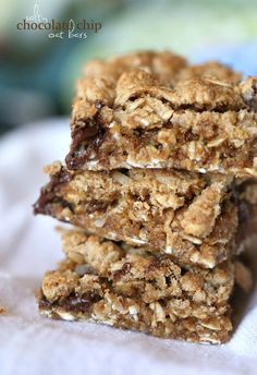 Salty Chocolate Chip Oat Bars ~ Simple and perfect chewy, gooey bars!