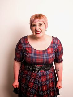 Plus London 3 -Pink Clove Plaid Dress, Torrid Belt, Photo by Blast UK