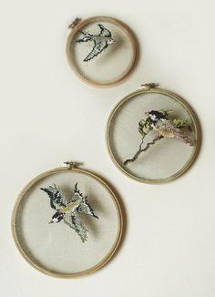 Love this embroidery artwork from Valeria Faúndez Vogel Jaulas II Cross Stitching, Cross Stitch Embroidery, Embroidery Patterns, Hand Embroidery, Cross Stitch Patterns, Art Textile, Modern Cross Stitch, Needlework, Nature Crafts