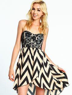 Lace High-Low Chevron Dress