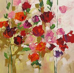 Original Painting Flowers Abstract or by lindamonfort on Etsy, $260.00  I love the colours .. it is full of joy!