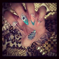 pretty art cute spikes orange tattoos creative tattoo pearls diamonds nails glasses nail art instagram teal rhinestones leopard gold cheetah nail stripes manicure pearl rhinestone pointy braclet Acrylics lysoaddictive decorated rhinestoned