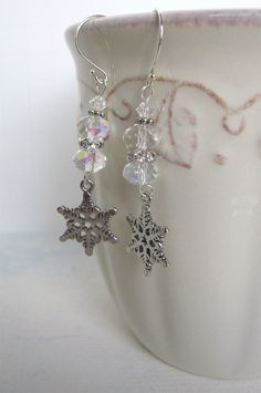 Items similar to Silver Sparkle Snowflake Dangle Earrings - Holiday Jewelry - Winter Fashion on Etsy