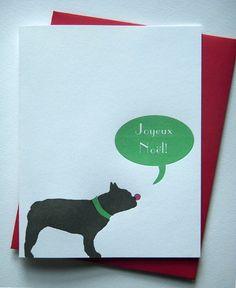 French Bulldog Christmas Card Joyeux Noel - Letterpress Printed - Set of 12