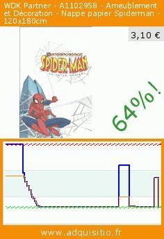 WDK Partner - A1102958 - Ameublement et Décoration - Nappe papier Spiderman - 120x180cm (Jouet). Réduction de 64%! Prix actuel 3,10 €, l'ancien prix était de 8,52 €. https://www.adquisitio.fr/bbs/nappe-spiderman