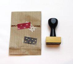 Carimbos artesanais - Washi tape de mini corações - A. Craft