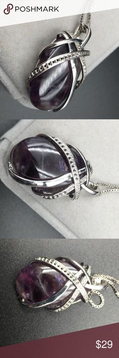 Silver 22CTW polished oval amethyst pendant 925 Description: Material: Sterling silver Condition: New Available Colors: Purple  Material:925 silver Main stone:natural amethyst Jewelry Necklaces