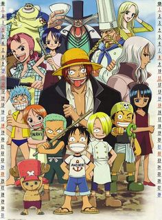 Straw Hat Crew, Mugiwara, Luffy, Sanji, Zoro, Chopper, Usopp, Brook, Franky, Nami, Robin, young, childhood, Bellemere, Shanks, Kuina, Zeff, Tom, Kaya, Hiluluk, Olvia, family, text; One Piece
