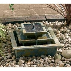 Image result for smart solar pyramid garden fountain in natural slate