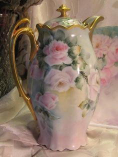"Exquisite Stunning ""Victorian Roses"" 1900's Hand Painted MZ Austria CHOCOLATE COCOA POT Antique Chocoliatiere HAND PAINTED TEA ROSES Beautiful Rococo Heavy Gold Fine Austrian Vintage Heirloom China Painting Artist Signed"