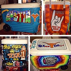custom university of texas red river shootout painted cooler