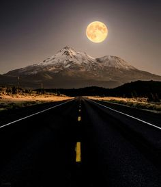 Full Moon Rising Over Mount Shasta. Photography by Derek Kind