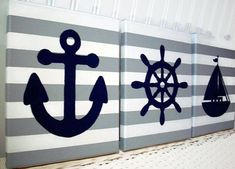 Decorate your nautical nursery or child's room with these nautical themed stretched canvas acrylic paintings. Colors shown are 3 gray and white striped canvases. Includes paintings of a sailboat, an anchor and a ships wheel or helm in navy. All hand painted. Please note, I can make backgrounds and the nautical items in many different colors. Just convo me if you want to know if certain colors are available. **This listing is made to order for 3 - 8 x 10 or 3 - 11 x 14 acrylic hand-painted
