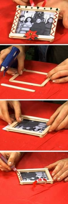 Picture Frame Ornament | 16 DIY Christmas Popsicle Sticks Crafts for Kids