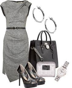 combination gray dress accessories high heels handbag fashion http://www.womans-heaven.com/gray-dress-with-accessories-combination/