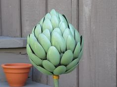 recycle, recycling, recycled, garden art, recycled garden art, craft, crafting, craft klatch, artichoke, recycling craft, fun, easy, homemad...