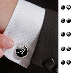 Fashion Jewelry Men Cufflinks Alphabet Single Letter Black Bottom Silver Plated Wedding Party Vintage 16mm Men Cuff Link2016