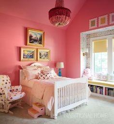 Who says #bubblegum #pink is overrated? This Candy Land-inspired #bedroom is simply eye-catching! : @TraditionalHome #HomeDecor #Tips