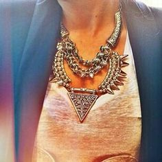 studded silver necklace