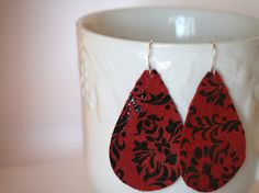 Red and Black Damask Leather Teardrop Earrings by BaublesbyB