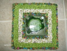 Handmade Green, Cream and Multi-Colored Cotton Locker Hooked Tile Trivet. $35.00, via Etsy.  I LOVE GREEN AND I ESPECIALLY LOVE THIS COMBO!