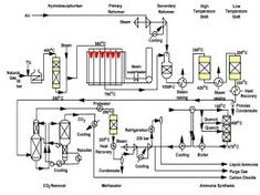 Ammonia plant process flow diagram of single train section