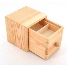 Boite cube en bois avec1 tiroir - 10x10x10cm