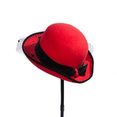 Vintage Fire Engine Red Lady's Hat with Black Velvet Bow and Netting