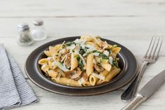 Garlicky wild mushrooms and Swiss chard are front and center in this creamy pasta. We've spiced it up with a touch of paprika and a dash of chili flakes. A sprinkling of Parmesan finishes the dish off right.  Try with SCW's Brianna, Marquette Rosé, or Frontenac '14.