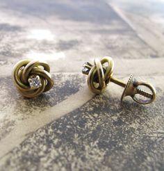 Victorian 14K Love Knot Earrings with Diamonds