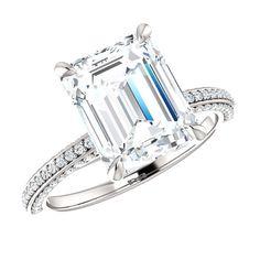 10x8mm Emerald-Cut Forever Brilliant Moissanite & Diamond Ring, Cyber Monday Black Friday 2016 Engagement Rings for Women, Moissanite Rings, USA, UK, Canada, Australia, Los Angeles, Calfornia