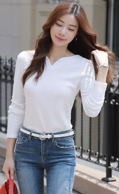 Classy outfit idea to copy ♥ For more inspiration join our group Amazing Things ♥ You might also like these related products: - Jeans ->. Classy Outfits, Pretty Outfits, Stylish Outfits, Beautiful Outfits, Fashion Outfits, Girl Outfits, Korean Blouse, Cute Asian Girls, Korea Fashion