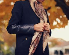 Navy Cashmere Leather Winter Coat
