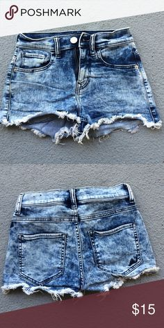 Acid Wash High Waisted Shorts EXPRESS Brand acid wash high wasted shorts that offer a flexible stretch fit for all day comfort . Pairs nicely with a muscle t or a crop top Express Shorts Jean Shorts