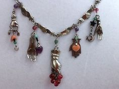 Vintage Lucy Isaacs Signed Sterling Silver Hands and Bead Necklace