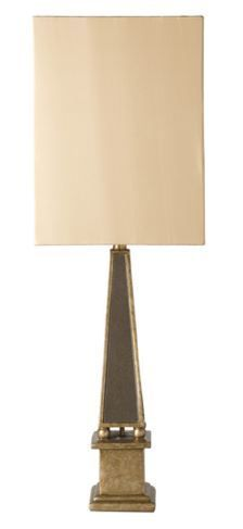This updated traditional Linden table lamp by Surya is an eye-catching accessory with its antiqued gold base (LID-100).