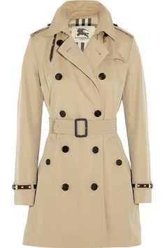 Burberry | The Kensington Mid leather-trimmed cotton-gabardine trench coat | NET-A-PORTER.COM