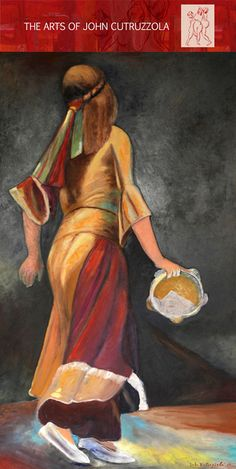 """The Tambourine Girl, 32""""x56"""", Oil on Canvas"""