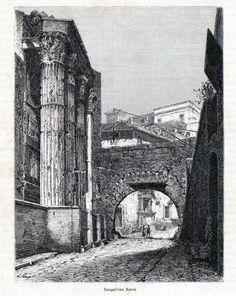 Antique print Rome Nerva temple 1870 stampa antica Forum Romanum Roma