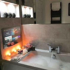 Dream House Interior, Luxury Homes Dream Houses, Dream Home Design, My Dream Home, Dream Bathrooms, Dream Rooms, Tv In Bathroom, Bathroom Design Luxury, Dream Apartment