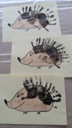egel met handafdrukken Toddler Art, Toddler Crafts, Fall Crafts For Kids, Diy For Kids, Summer Art Projects, Footprint Art, Hedgehog, Cool Art, To My Daughter