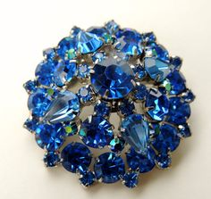Juliana D & E sapphire dome shaped rhinestone brooch  by art4u2buy, $89.00