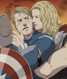 The Avengers (MCU) - Thor Odinson x Steve Rogers - Thundershield Avengers Cartoon, Avengers Images, Avengers Art, Marvel Art, Steven Rogers, Best Avenger, Wattpad, Thors Hammer, Avengers Infinity War