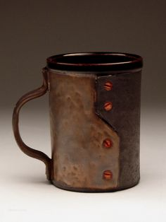 Andrew Massey industrial, steampunk pottery for sale at MudFire Gallery for clay Stoneware Mugs, Ceramic Artists, Atlanta, Steampunk, Industrial, Clay, Pottery, Ceramics, Sculpture