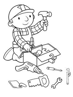 Printable Bob The Builder Coloring Pages For Kids. Bob the Builder is a 1999 stop-motion animation series. Cartoon Coloring Pages, Coloring Pages To Print, Free Coloring Pages, Printable Coloring Pages, Boy Coloring, Coloring Sheets For Kids, Coloring Books, Moana Coloring, Kids Bob