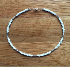 Beaded choker white beaded choker seed bead choker boho