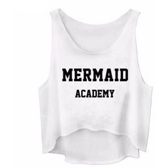 MERMAID ACADEMY LETTER PRINT CASUAL TANK TOP ($4.90) ❤ liked on Polyvore featuring tops, shirts, crop tops, dresses, white tank, cropped shirts, white top, letter shirts and crop top