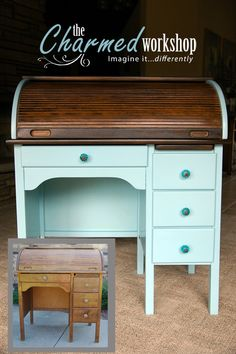 Amazing CUSTOM: Custom Child Sized Rolltop Desk Gets A Glam Makeover. Re Loved By  The Charmed Workshop. Good Looking